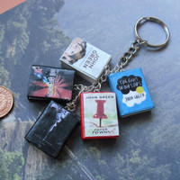 John Green collection book charm keychain by CharmaLlama on Etsy