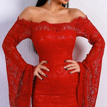 Get On It Lace Long Bell Sleeve Off the Shoulder Bodycon Mini Dress - 2 Colors Available