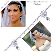 Kim Kardashian headband wedding crystal forehead band Art Deco Style Bridal Headpiece, wedding hair accessories earrings necklace