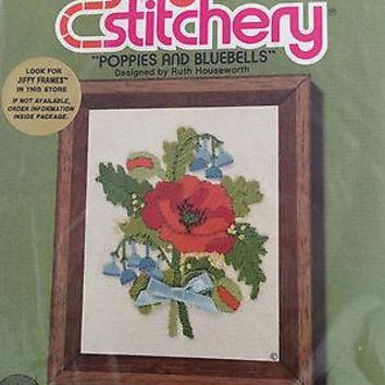 JIFFY STITCHERY by SUNSET DESIGNS #210 SUGAR POPPIES AND BLUEBELLS - 1980