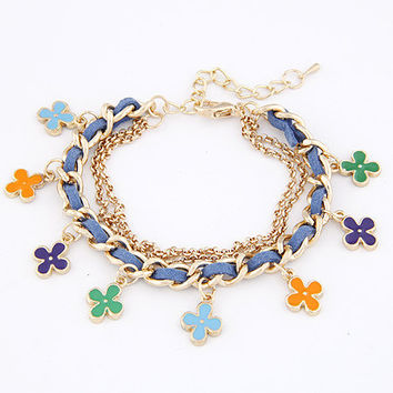 Sweet Style Golden Pendant Bracelet with Colorful Flower, Gift for Friend, Birthday Gifts, Party Jewelry, Handcrafted Jewelry 11040761