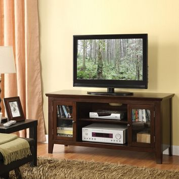 Banee espresso finish wood tv stand entertainment center with side glass front cabinet doors