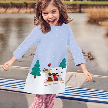 New Trend Kids Girls Christmas Dresses Outfits Clothes Toddler Baby Girls Long Sleeve Dog Print Dresses Ropa Ninas 2018 @ 30
