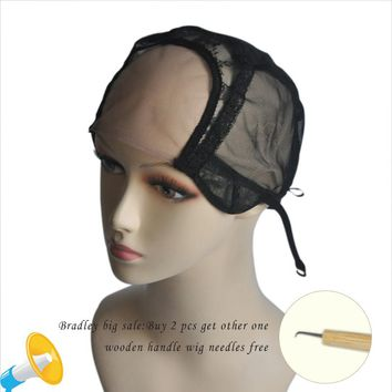 "4""*4"" U Part Lace Wig Caps With Swiss Lace For Making Wigs With Adjustable Straps Glueless Weaving Caps Mesh Wig Cap W0500301"