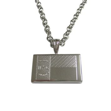 Silver Toned Etched North Carolina State Flag Pendant Necklace