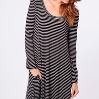 Sweet and Southern Striped Dress (Black)