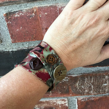Wrap Bracelet Repurposed Necktie Jewelry Rust Olive Tan Recycled Upcycled Gifts Funky Jewelry Retro Rustic Cuff Gift For Artist Musician
