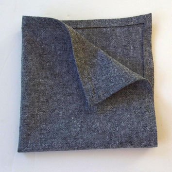 "Chambray Pocket Square / Peppered Cotton Pocket Square / 13.5"" / Charcoal Gray Handkerchief / Grey Pocket Square /  Chambray Handkerchief"