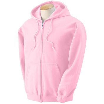 Light Pink Fleece Full Zip Up Sweatshirt Hoodie