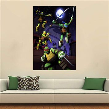 WJY510N24 Teenage Mutant Ninja Turtles Satin Painting Wall Silk Poster cloth print Custom Print your image Fabric Poster F16