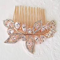 Rose Gold Cubic Zirconia Leaves Hair Comb