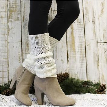 WINTER crochet leg warmers - cream