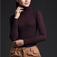 Women's Turtleneck Knitted Long Sleeve Tunic Sweatshirt Tops Sweater Jumper Elastic