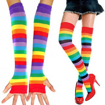 One Pair Womens Fashion Cosplay Colorful Striped Rainbow Knitted Thigh-high Long Stockings Fingerless Gloves SH093