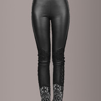 Exquisite Leatherette Leggings with Lace Detail