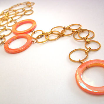 Mod necklace, gold circle large link chain long necklace with orange MOP mother of pearl shell AB hoop beads, 60's go go adjustible chain
