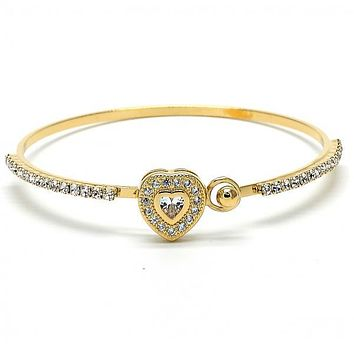 Gold Layered 07.97.0047 Individual Bangle, Heart Design, with White Micro Pave and White Cubic Zirconia, Polished Finish, Golden Tone (03 MM Thickness, Size 5 - 2.50 Diameter)
