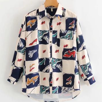 Print vintage short-sleeved shirts are a hot seller in women's fashion