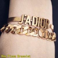 DIOR Hot Sale Woman Chic Simple Letter Bracelet  Accessories