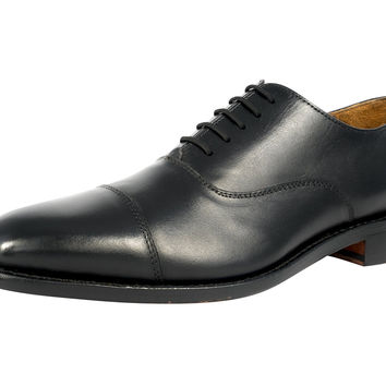 Anthony Veer Mens Clinton Cap-toe Oxford Leather Shoe in Goodyear Welted Construction Black 10.5 E US '