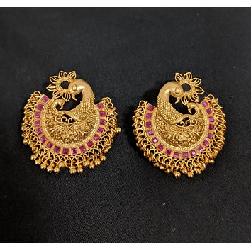 Antique matte gold finish XL size dual peacock stud earring