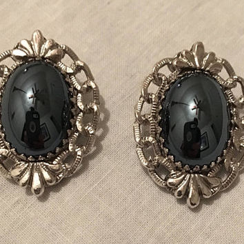 Whiting & Davis - Clip-on Earrings - Ornate Rhodium - Silver Tone - Black Glass Cabochons - Vintage Earrings