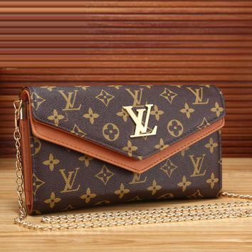Louis Vuitton LV Women Leather Chain Zipper Wallet Purse Crossbody