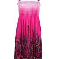 Exotic Floral Prints Easy-Fit Midi/Mini Summer Beach Dress with Shoulder Straps