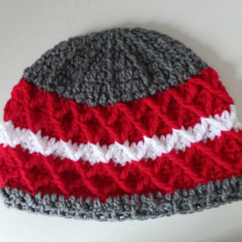 HAT SALE: Red, gray and white diamond pattern striped crochet hat for teens, men or women