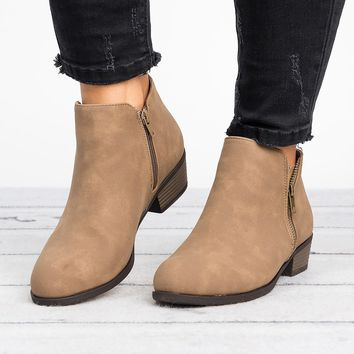 Zoey Zipper Ankle Booties - Taupe