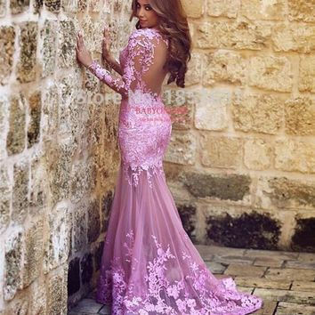 2017 Muslim Evening Dresses Mermaid Long Sleeves Pink Appliques Lace Islamic Dubai Abaya Kaftan Long Evening Gown Prom Dress