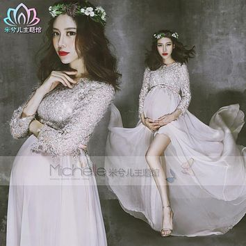 New Fancy Pregnancy Photo Shoot Studio Clothing Maternity Gorgeous Long Dress Pregnant Photography Props Maternity Gown Dress
