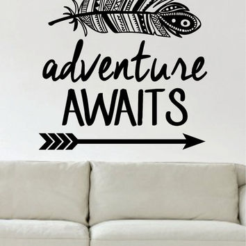 Adventure Awaits Version 1 Mountains Arrow Design Decal Sticker Wall Vinyl Art Decor Travel