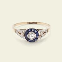 Early Deco Diamond and Sapphire Engagement Ring