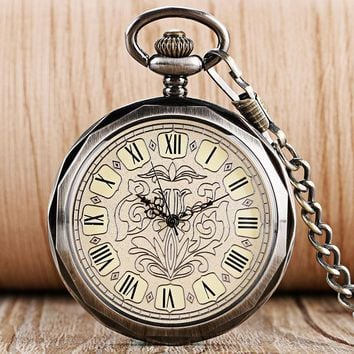 Luxury Dark Grey Hand Wind Mechanical Pocket Watches for men Women Retro Fashion Wind Up Trendy Steampunk Pendant Nurse Clock