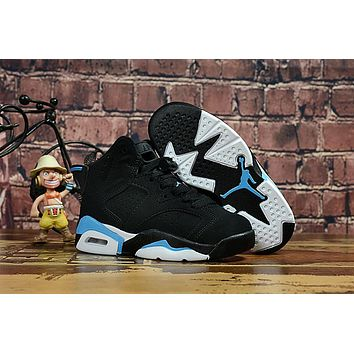 Kids Air Jordan 6 Black/Blue Sneaker Shoe Size US 11C-3Y