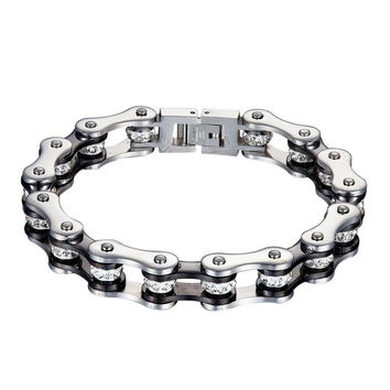 Motorcycle Bike Chain Link Bracelet Stainless Steel Heavy Silver Tone Mens 10mm