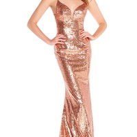 Alyce 60032 Full Sequin Dress with Criss Cross Back-Rose Gold