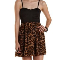 Black Combo Leopard Print Chiffon Skater Dress by Charlotte Russe