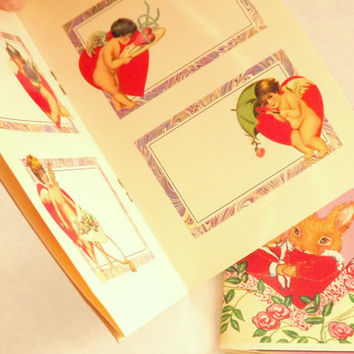 Valentine Day Dover Bunny Rabbit Postcards and Address Gift Label Sticker Set Book of Red Cupids Hearts Vintage 1990s
