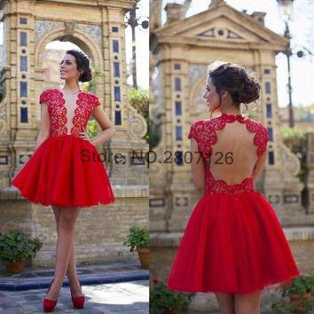 Red 2017 Cocktail Dresses Lace Open Back Ball Gowns Short Wedding Party Dress Bride Gowns Robe De Cocktail