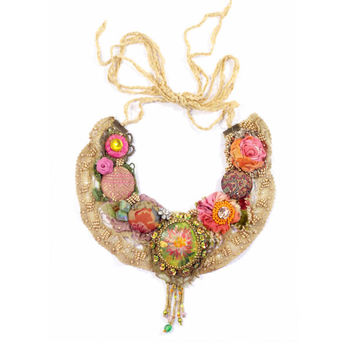 Bohemian necklace with painted cameo | Krista R