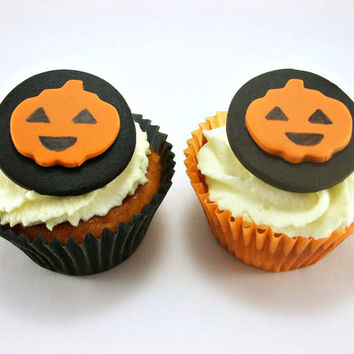 12 halloween cake cupcake cookie fondant toppers halloween party decoration pumpkin jack o