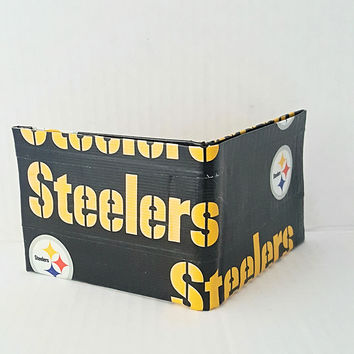 Small Black and Yellow Pittsburgh Steelers Men's Wallet, Kid's Duct Tape Wallet, Bifold Wallet