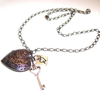 Essential Oil Filigree Heart Diffuser Necklace in Gunmetal Aromatherapy Heart Locket Diffuser with Key and Heart Charms