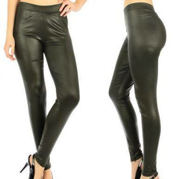 Olive Matte Liquid Leggings fits sizes S/M