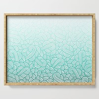 Gradient turquoise blue and white swirls doodles Serving Tray by savousepate