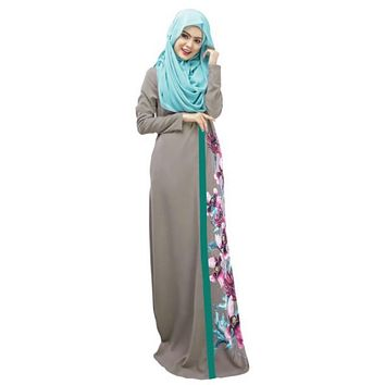 Spring Women Lady Kaftan Abaya Jilbab Islamic Muslim Floral Long Sleeve Maxi Dress