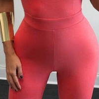Sexy Pure Color Cross Backless High Waist Long Jumpsuits