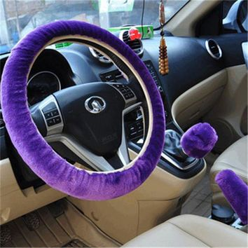purple 3pcs artificial wool plush car cover steering wheel cover plush set handbrake cover car imitation fur steering wheel set gift winter autumn warm  number 1